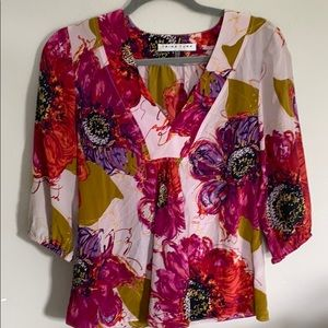 Trina Turk Colorful Floral 100%  Silk Blouse XS
